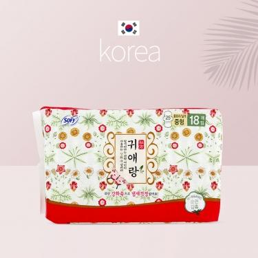 韩国进口贵爱娘贵艾朗中草药日用卫生巾25CM*18pic
