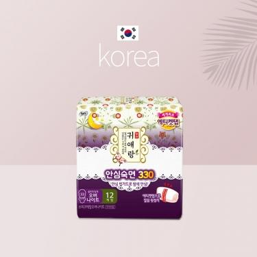 韩国进口贵爱娘贵艾朗中草药夜用卫生巾33cm*12pic